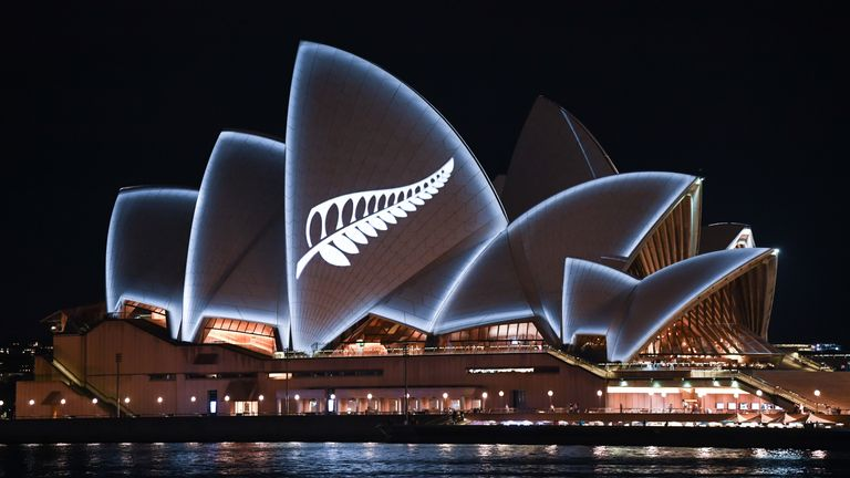 The Sydney Opera House has the national symbol of New Zealand lit up on its side