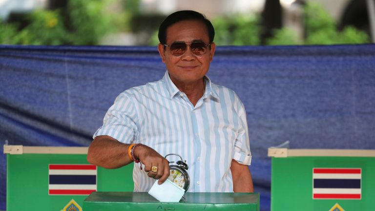 Thailand's Prime Minister Prayuth Chan-ocha casts his ballot to vote in the general election at a polling station in Bangkok on Sunday.