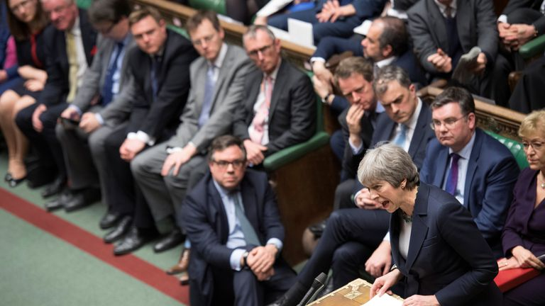 Theresa May speaks in Parliament following the vote on Brexit