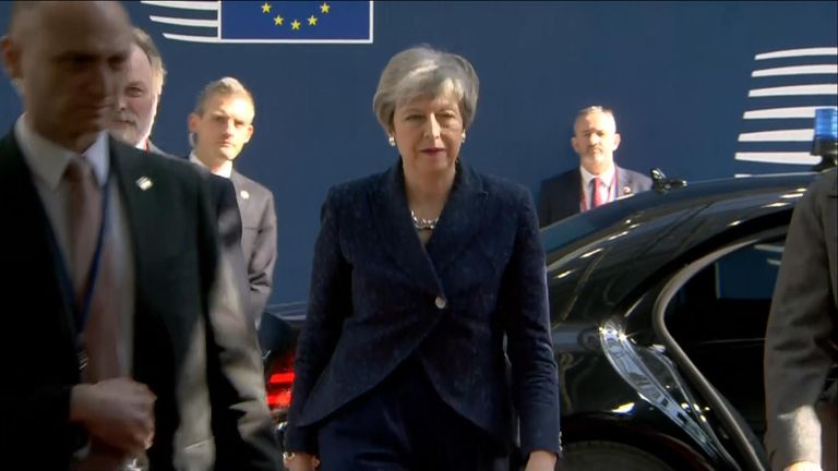 Theresa May arriving in Brussels