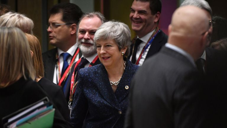 Theresa May in Brussels on the first day of an EU summit