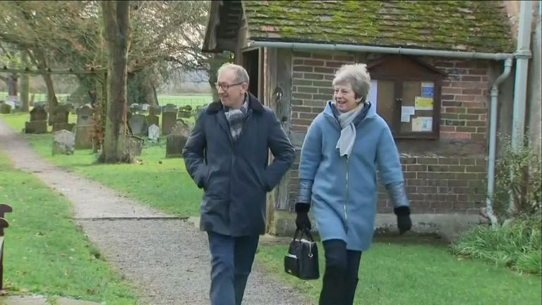 Theresa May leaves church on 10 March 2019