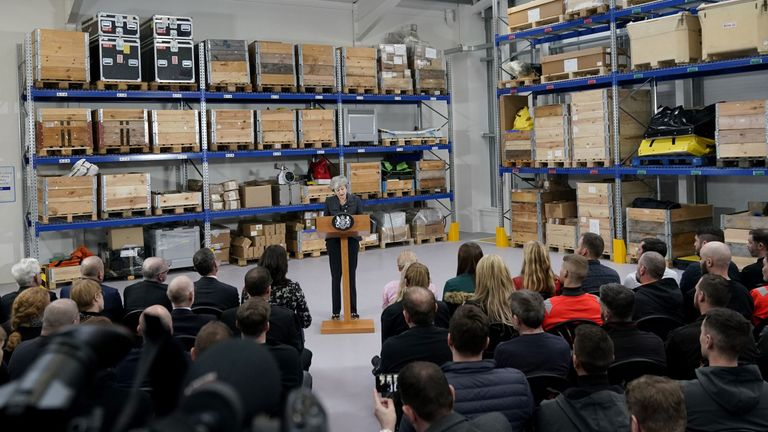 Theresa May delivers a speech at Orsted East Coast Hub in Grimsby