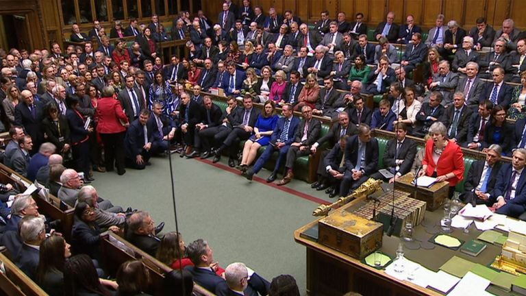 Theresa May addressing MPs after they rejected her withdrawal agreement