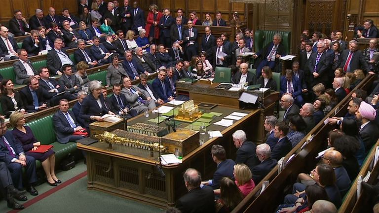 Prime Minister Theresa May speaks in the House of Commons