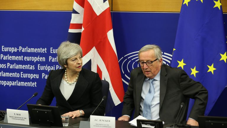 Theresa May and Jean-Claude Juncker following their latest talks on the Irish backstop