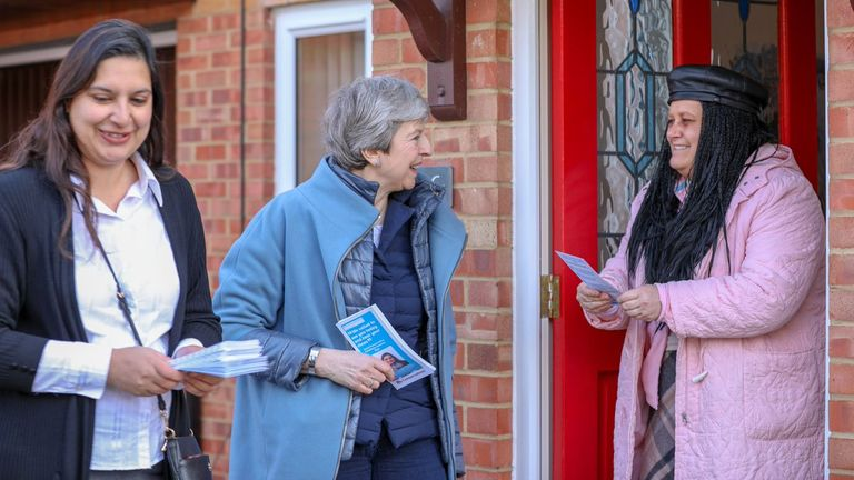 Theresa May shared this picture as she leafleted in Milton Keynes
