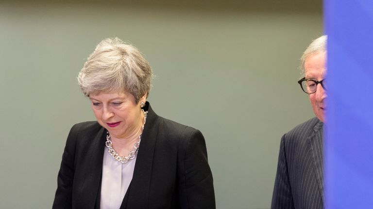 BRUSSELS, BELGIUM - FEBRUARY 20: Prime Minister of the United Kingdom Theresa May (L) is welcome by the President of the European Commission Jean-Claude Juncker (R) prior a bilateral meeting on Brexit talks at the Berlaymont, the EU Commission headquarter on February 20, 2019 in Brussels, Belgium. Theresa May is returning to Brussels for further talks as she continues to seek an EU withdrawal agreement which her Parliament can approve.  (Photo by Thierry Monasse/Getty Images)