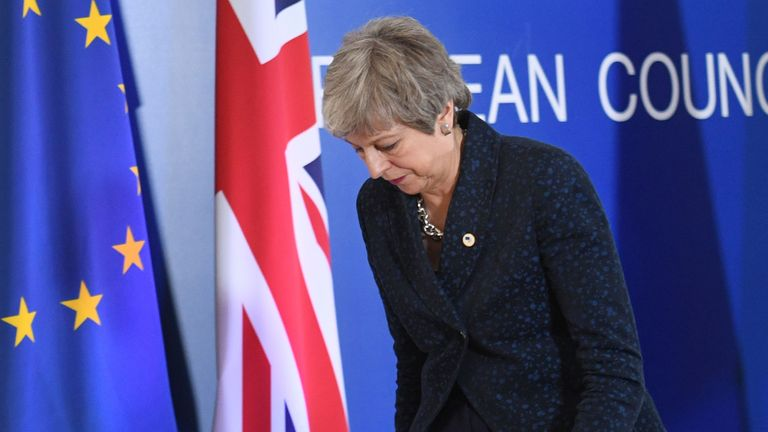 Prime Minister Theresa May after giving a statement about Brexit at the European Leaders' summit in Brussels.