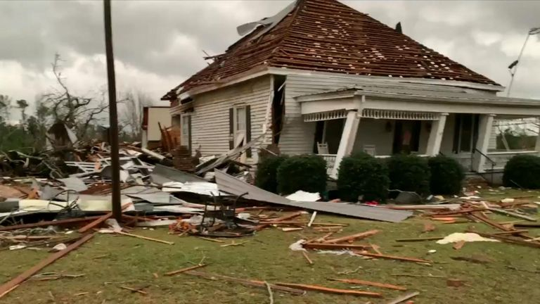 Aftermath of tornado which left 23 dead