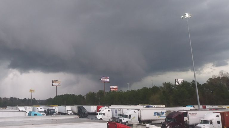 A view of a tornado seen in the distance at Warner Robins, Georgia. Credit: TWITTER @KEITH_IRWIN