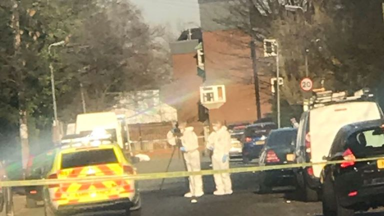 Forensics officers at work following the fatal stabbing. Pic: Radio City News