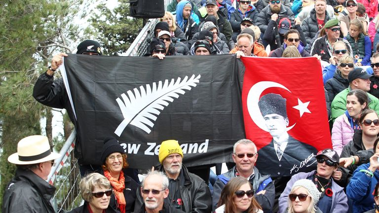 Crowds show their national pride during a memorial service on the occasion of the 100th anniversary of the land campaign of the Battle of Gallipoli in Canakkale on April 25, 2015