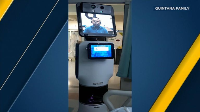 The robot also had a smaller tablet device underneath the main screen. Pic: Quintana family/ABC News