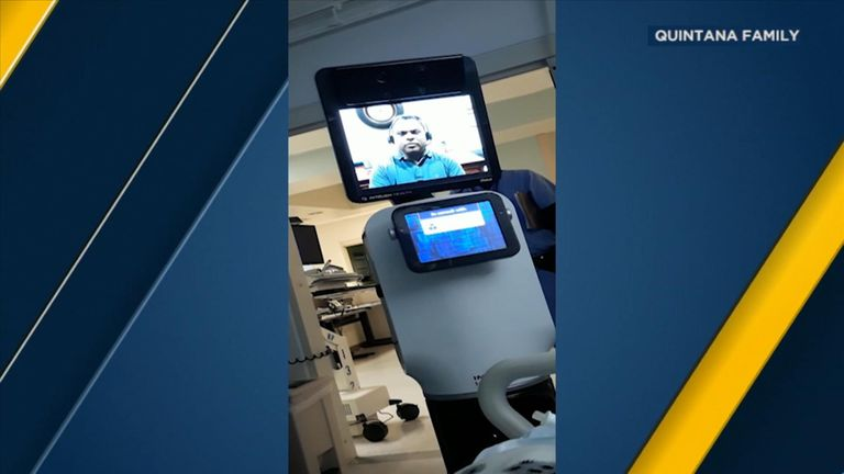 The patient struggled to hear what the doctor was saying through the robot's screen. Pic: Quintana family/ABC News