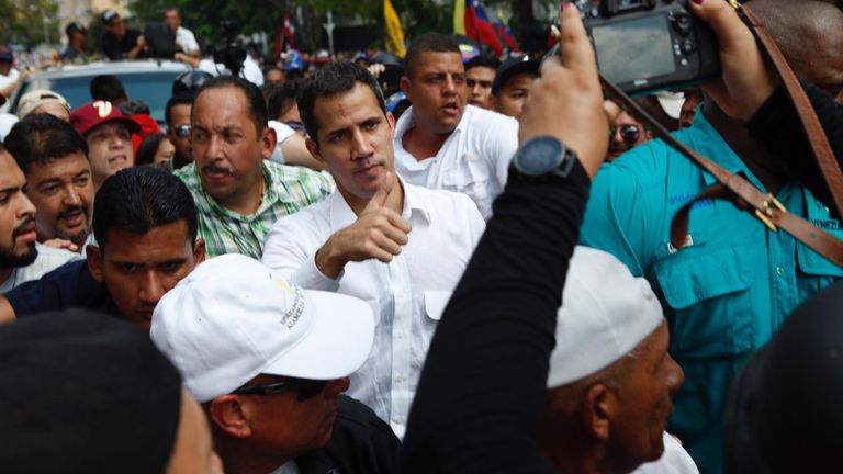 Guaido gives thumbs up to supporters on east side of Caracas