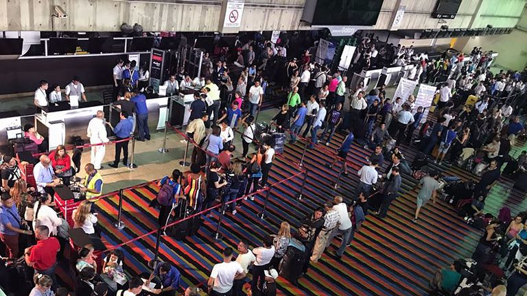 Passengers were stranded at the Simon Bolivar international airport during the power outage