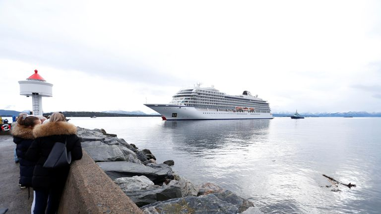 Viking Sky cruise ship arrives at port in Norway