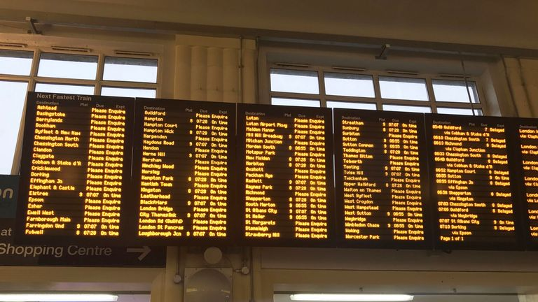 Departure screens at Wimbledon train station in London as overrunning engineering work at London Waterloo, the UK's busiest railway station, has caused major rush hour disruption. PRESS ASSOCIATION Photo. Picture date: Friday March 22, 2019. See PA story RAIL Waterloo. Photo credit should read: Zoe Linkson/PA Wire