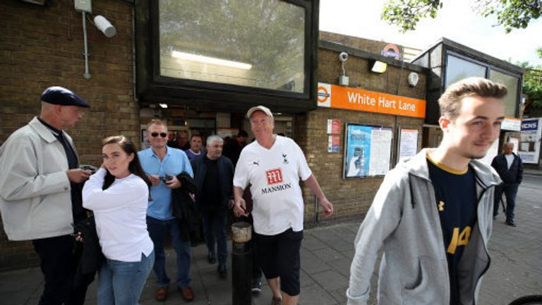 Fans arriving at White Hart lane station in May 2017