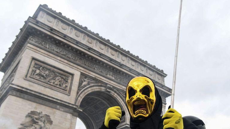 A protester near the Arc de Triomphe