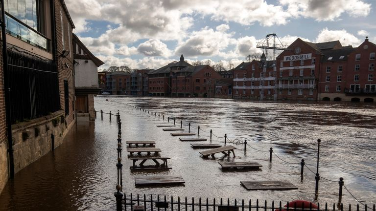 The River Ouse has burst its bank in York