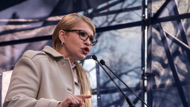 Ukrainian presidential candidate Yulia Tymoshenko campaigns at a rally