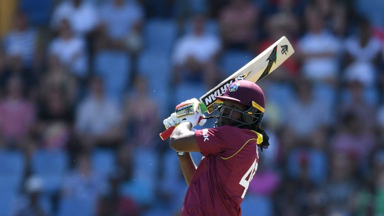 Chris Gayle smashed nine sixes on his way to 77 from 27 balls in the final ODI against England in St Lucia