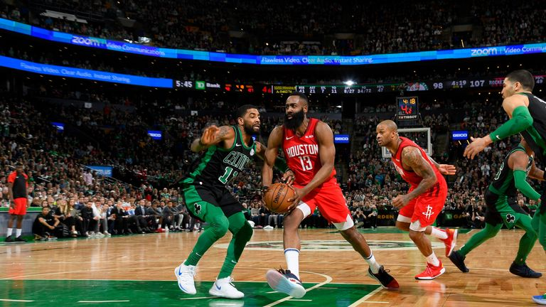 a7cb954422b James Harden  13 of the Houston Rockets drives to the basket against the Boston  Celtics