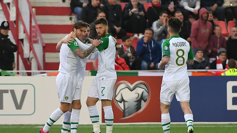 Republic of Ireland's Jeff Hendrick (left) celebrates scoring his side's first goal of the game with team-mates during the UEFA Euro 2020 Qualifying, Group D match at the Victoria Stadium, Gibraltar.