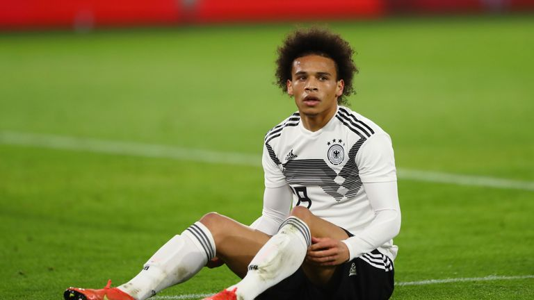 0:58                                               Leroy Sane was fortunate to avoid a serious injury after a reckless challenge by Serbia's Milan Pavkov