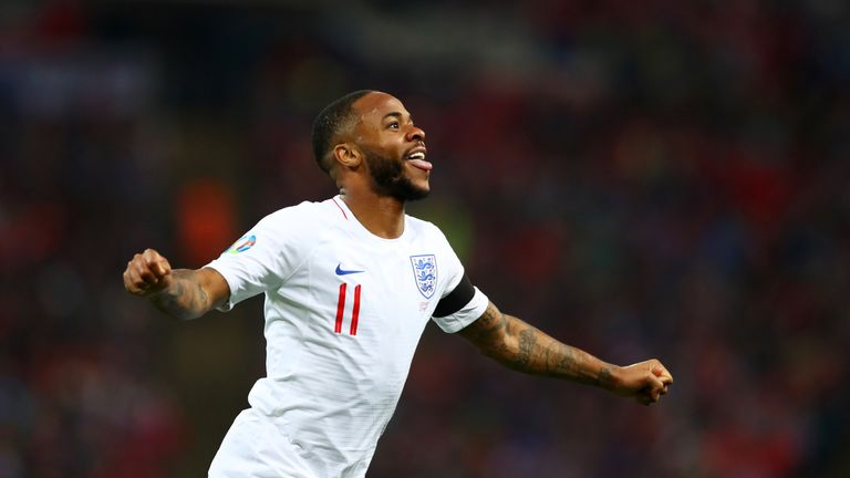 Raheem Sterling celebrates completing his first England hat-trick 601ab02cf