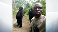 The ranger and the gorillas. Pic: The Elite Anti-Poaching Units And Combat Trackers/Facebook