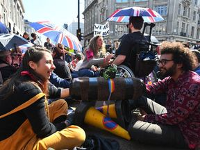 Despite the dismantling of the boat, protesters remained in Oxford Circus for a sixth day of demonstrations