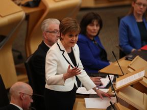 First Minister of Scotland Nicola Sturgeon issues a statement on Brexit and independence in the main chamber at the Scottish Parliament, Edinburgh.