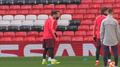 Barcelona stars train at Old Trafford