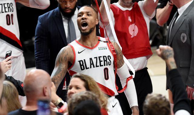 Damian Lillard waves Oklahoma City Thunder off court after series-clinching buzzer-beater