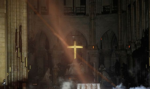 Notre Dame altar cross a symbol of hope after 'terrible' blaze breaks out at 12th century cathedral