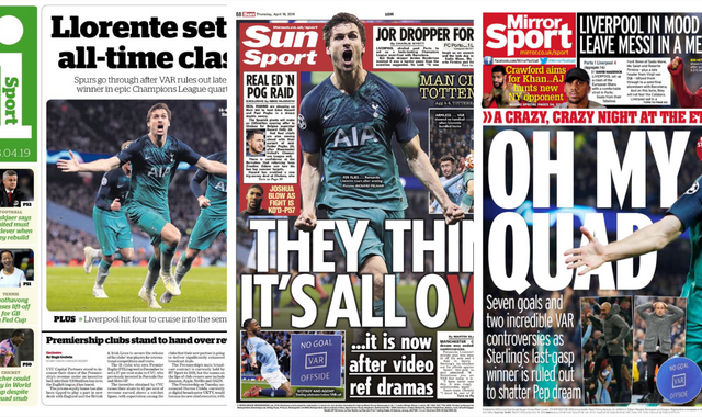 Tottenham knock out Manchester City: What the papers say