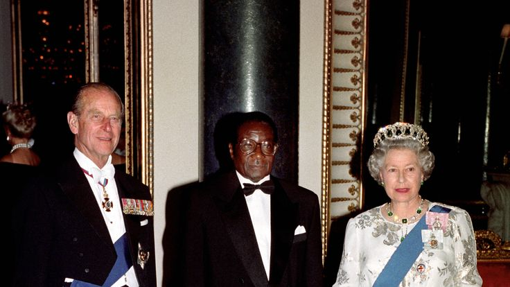 The Queen and Prince Philip with Robert Mugabe in Buckingham Palace
