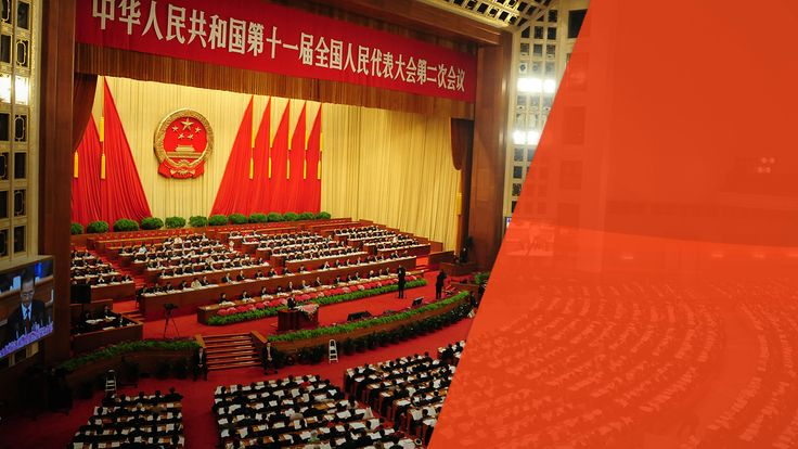 Chinese Premier Wen Jiabao delivers his speech as top leaders of China's ruling Communist party attend the opening session of the National People's Congress at the Great Hall of the People on March 5, 2009