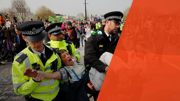 A woman is removed by police officers