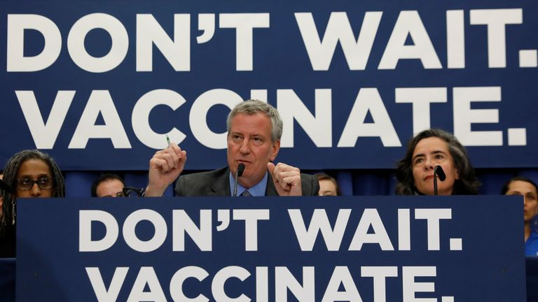 New York City Mayor Bill de Blasio says the outbreak is 'troubling'