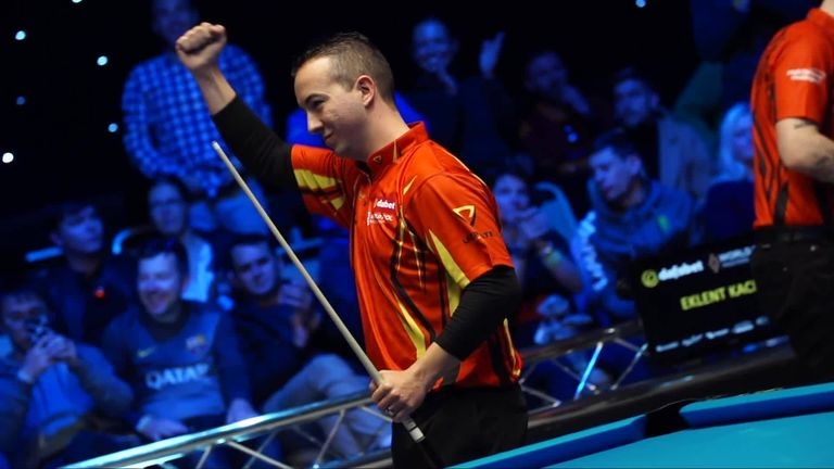 David Alcaide came from behind to beat Alexander Kazakis at the World Pool Masters in Gibraltar