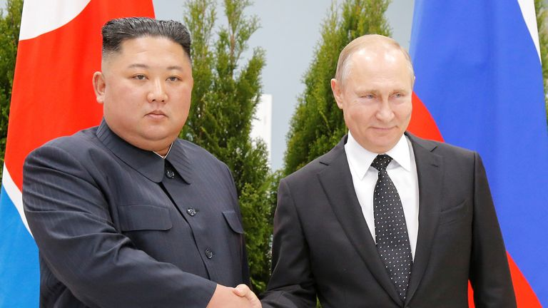Russian President Vladimir Putin and North Korea's leader Kim Jong Un shake hands during their meeting in Vladivostok, Russia, April 25, 2019