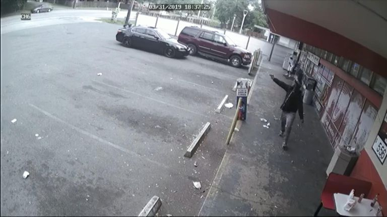 Dramatic shootout caught on cctv