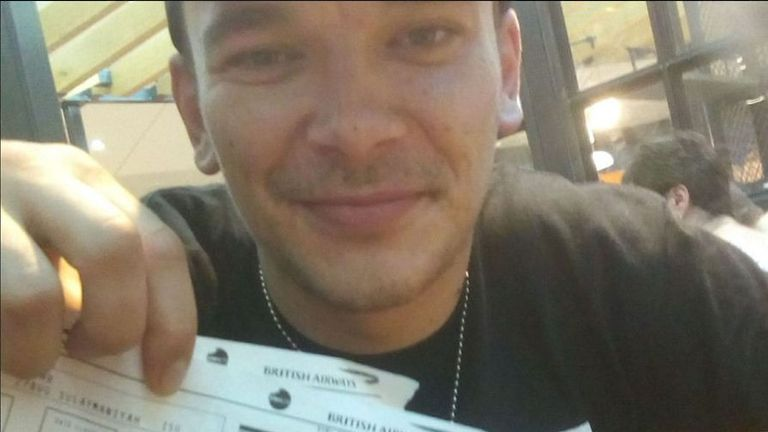 An image posted to Facebook by Aidan James in August 2017 of himself holding airplane tickets