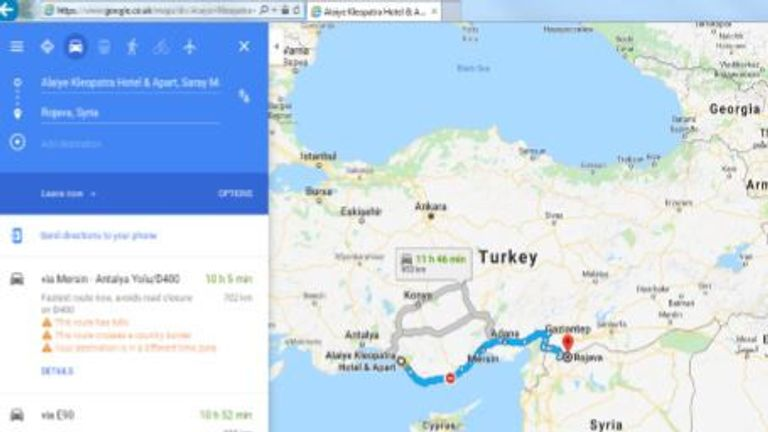 A Google maps search made by James from Turkey to Syria