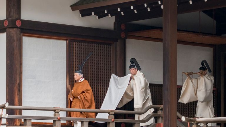 Akihito is seen attending the abdication ceremony at the Imperial Palace