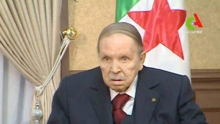 Abdelaziz Bouteflika in footage released in March. He has not been seen often since 2013